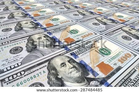 American dollar bills stacks background. - stock photo
