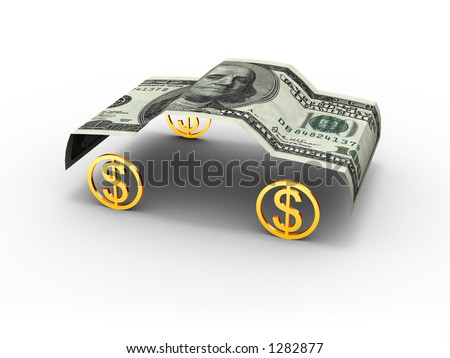 American dollar in car format. - stock photo