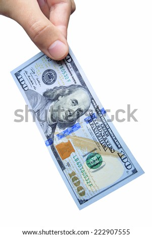 American Dollar keep two fingers on white background.