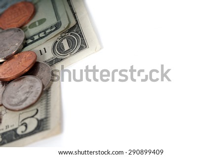 American dollar money bills and coins close up. Selective focus color image with shallow depth of field - stock photo