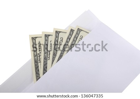 American $100 dollar notes coming out of an envelope isolated on white - stock photo