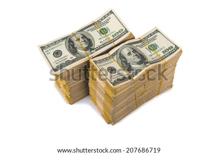 American dollar stack isolated on the white - stock photo