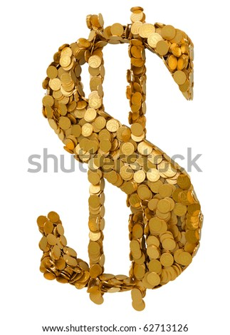 American Dollar symbol assembled with coins. Isolated on white
