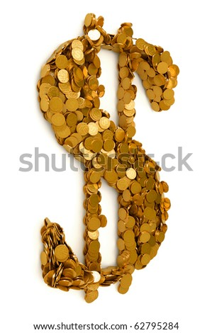American Dollar symbol shaped with coins. Isolated on white. Other symbols are in my portfolio