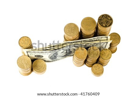 american dollars and coins on the isolated background