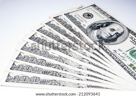 American Dollars as a currency on a white background