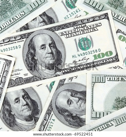 american dollars banknote of hundreds - stock photo