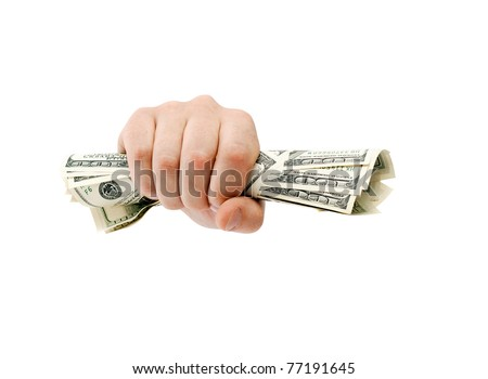 American dollars clenched - isolated on white