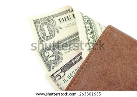 American dollars in brown wallet - stock photo