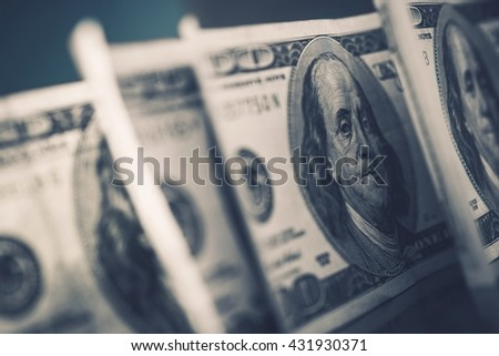American Dollars in Focus. Benjamin Franklin One Hundred Dollars Banknotes. Dollar Trading. - stock photo