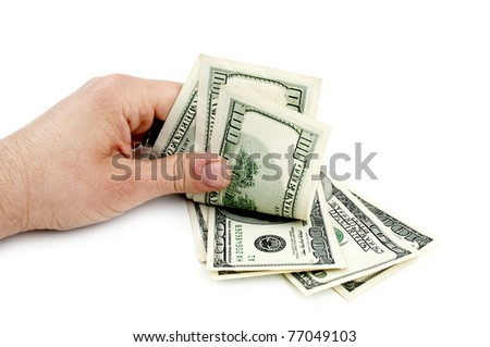 american dollars in hand isolated on a white background