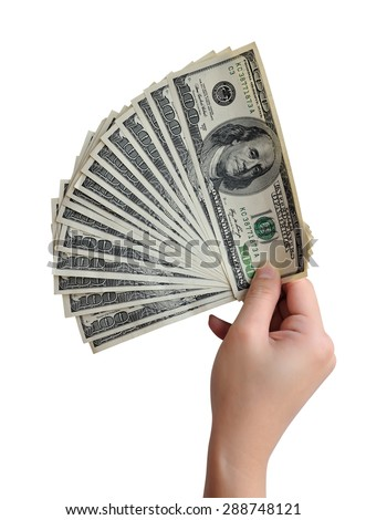 American dollars in hand isolated on white background. Clipping path included.  - stock photo