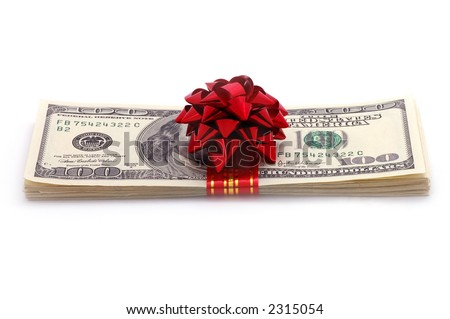 American dollars on a gift