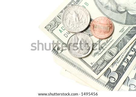 American dollars on white background. - stock photo