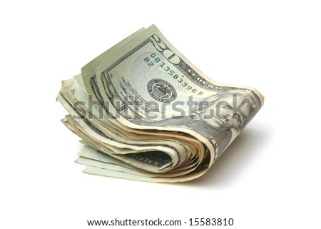 American dollars on white background - stock photo