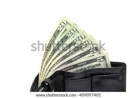 American dollars stick out of a black leather wallet on a white background - stock photo