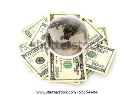 American dollars with glass ball isolated on white
