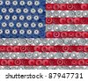 American economy symbol represented by gears and cogs in the shape and color of the flag of the U.S.A. showing industry business and manufacturing working together as a team in the continental U.S. - stock photo