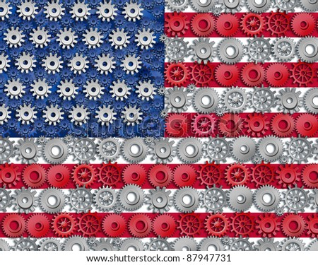 American economy symbol represented by gears and cogs in the shape and color of the flag of the U.S.A. showing industry business and manufacturing working together as a team in the continental U.S.
