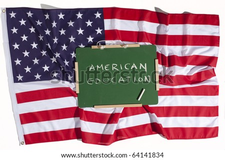 American education concept. US flag and a blackboard - stock photo