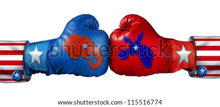 American election campaign fight as Republican Versus Democrat as two boxing gloves with the elephant and donkey symbol stitched fighting for the vote of the United states for an election win.
