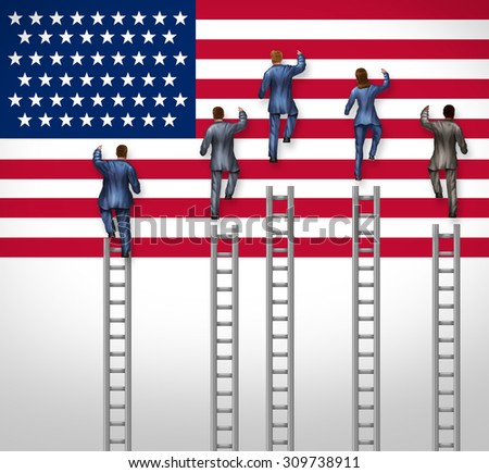 American election concept as a group of candidates from the United States campaigning for president or government position as nominees for the democratic or republican party climbing the USA flag. - stock photo