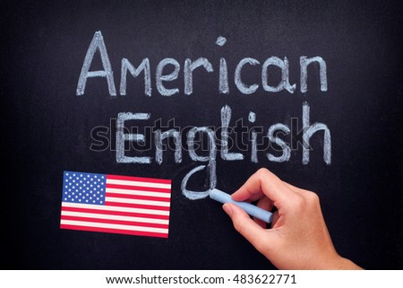 American English. Hand drawing American English on blackboard. Close up.