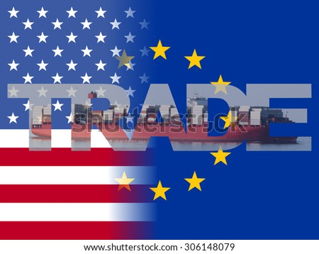 American EU flags with trade text illustration - stock photo