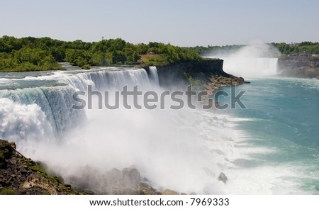 American Falls and Horseshoe falls in the background - stock photo