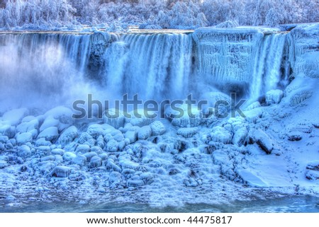 American Falls in Winter Niagara Falls, Canada - stock photo