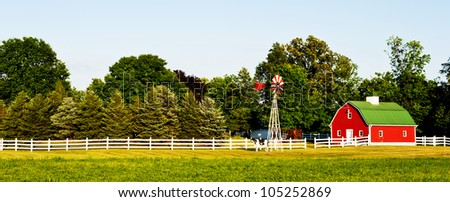 american farm house - stock photo