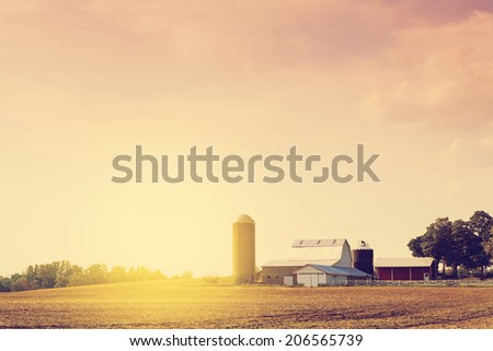 American Farmland on Dusk  - stock photo