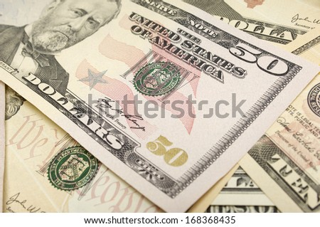 American Fifty Dollar Bills - stock photo