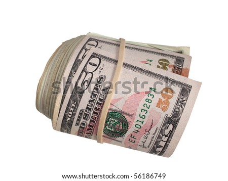 American Fifty Dollar Bills rolled up with a Rubber Band - stock photo