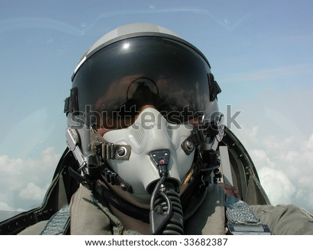 American Fighter Pilot in Flight - stock photo