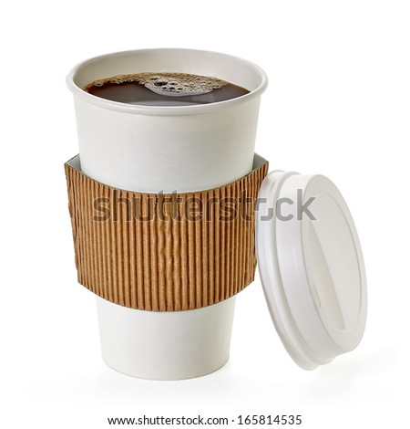 American filter coffee in takeaway cup including clipping path - stock photo