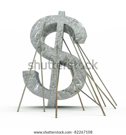 American financial crisis of dollar currency - stock photo