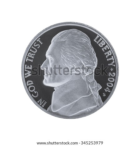 American five cents coin isolated on white background. Thomas Jefferson 5 cents, louisiana