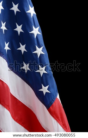 American flag against a black background