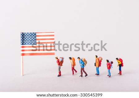 American Flag and adventurer