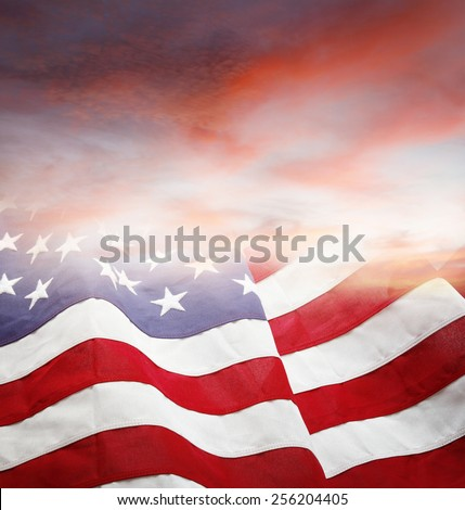 American flag and bright sky - stock photo