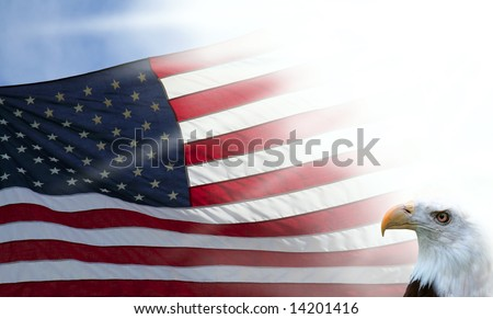 American Flag and Eagle with Sun Star Burst - stock photo