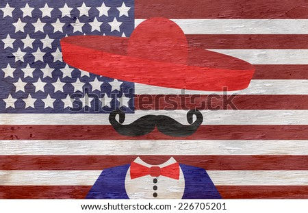 american flag and man with sombrero on wood grain texture - stock photo
