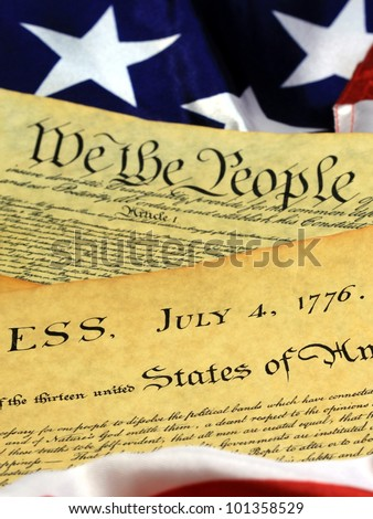 American Flag and Preamble to the Constitution of the United States - stock photo