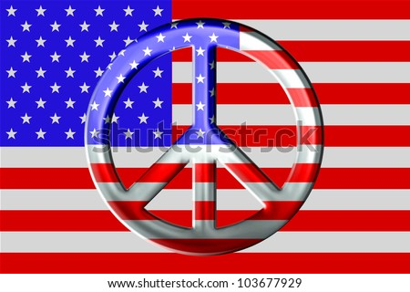 American flag background, red white and blue, metal or chrome looking peace sign layered in front, atop. / Metallic Peace Symbol and American Flag / Great look, with a straightforward point of view. - stock photo