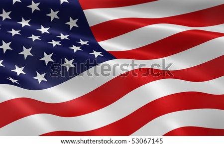 American flag blowing in the wind. Part of a series. - stock photo