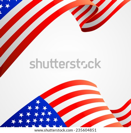 American flag border  illustration on white - stock photo
