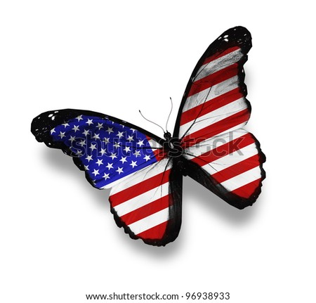 American flag butterfly, isolated on white - stock photo