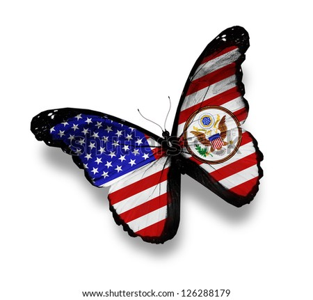 American flag butterfly with coat of arms, isolated on white