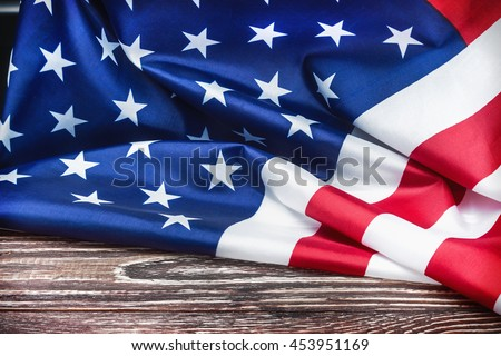 American flag Close-up. vignetting for artistic effect - stock photo